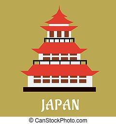 Japanese traditional pagoda flat icon