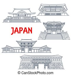 Japanese travel landmarks with vector thin line buildings of religion and sport. Shinto Shrines of Meiji Jingu, Hanazono and Kunozan Toshogu, Nippon Budokan arena and Otemon Gate of Kochi Castle