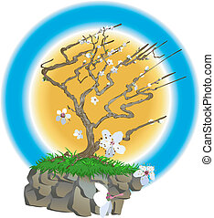 An oriental style blossom tree on a wind swept cliff top with blossom flowers bowing about
