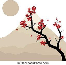 Japanese tree, illustration, vector on white background.