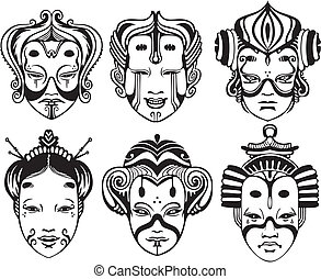 Japanese Tsure Noh Theatrical Masks. Set of black and white...