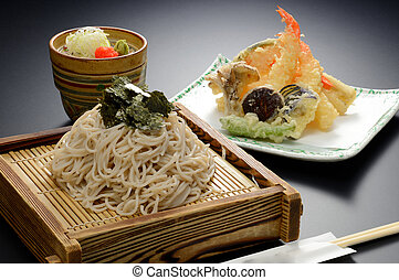 Japanese Udon noodle with seaweed and shrimp tempura on...