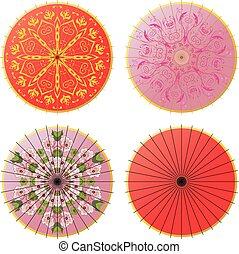Japanese umbrella set - Collection of decorative oriental...