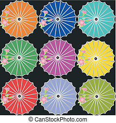 Japanese umbrellas on black background