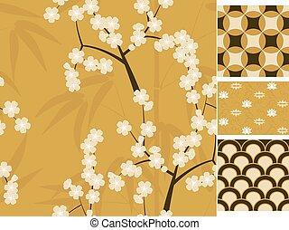 Japanese vector seamless patterns set with bamboo, sakura and traditional ornaments illustration