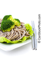 Soba Noodles - Japanese Vegetarian Soba Noodles on White...