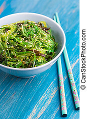 Japanese wakame salad with sesam seeds. Healthy seaweed ...