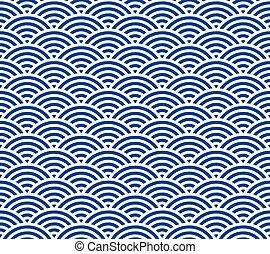 Japanese wave pattern - Blue and dark blue Japanese style ...