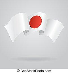 Japanese waving Flag. Vector illustration