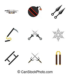 Japanese weapons icons set, flat style - Japanese weapons...