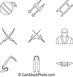 Japanese weapons icons set, outline style - Japanese weapons...