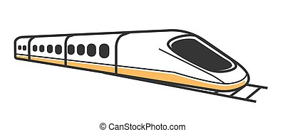 Japanese white modern high-speed train isolated flat...