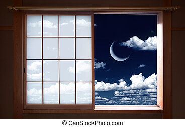 Japanese window and crescent moon