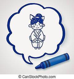 Japanese woman doodle