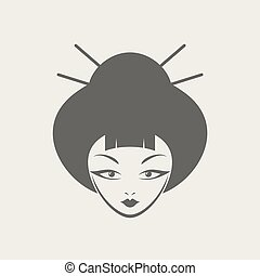 japanese woman face icon