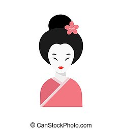 Japanese woman folk art maiden character vector. - Japanese...