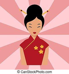 Japanese woman folk-art maiden cute kokeshi beautiful asian...
