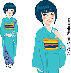 Japanese Woman in Green Kimono - Beautiful japanese woman...