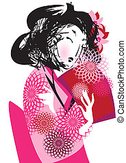 Japanese woman in kimono - A young Japanese woman in kimono...