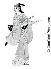 Japanese woman in national dress. - Geisha Japanese woman in...