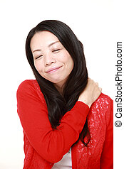 Japanese woman suffers from neck ache