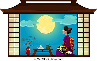 Japanese woman watching the moon at the traditional Tsukimi (moon-watching) festival