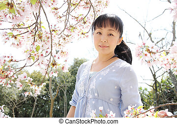 Japanese woman with cherry blossom