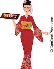 Young elegant beautiful asian girl serves salver with maki sushi. Woman wears traditional japanese kimono. Vector color cartoon.