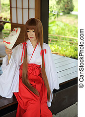 Japanese Women in Traditional Dress Miko
