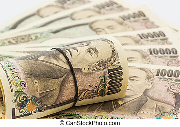 Japanese Yen banknotes. - Japanese Yen banknotes on white...