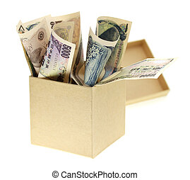 Japanese yen bank notes in the box on white background