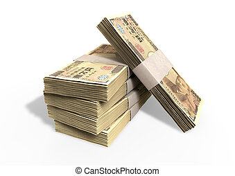 A stack of bundled japanese yen banknotes on an isolated background