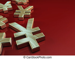 3D illustration with japanese yen symbol on red background