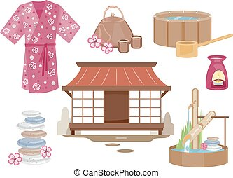Japanese Zen Elements - Illustration of Elements Typically...