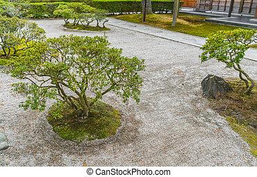 Japanese zen garden meditation stone .