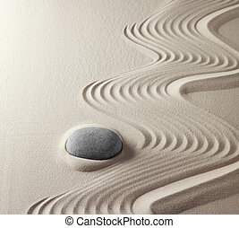 zen buddhism spiritual japanese rock garden abstract harmony and balance concept for purity concentration meditation and spa relaxation sand and stone