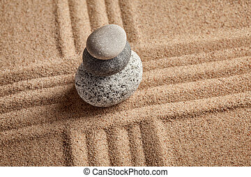Japanese Zen stone garden - relaxation, meditation, ...