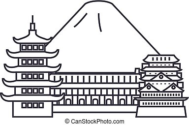 japan,fuji vector line icon, sign, illustration on background, editable strokes