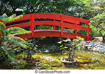 Brücke, japanischer garten. Wroclaw, brücke, polen, arbeiten garten ...