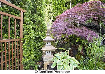 japanisches , inspiriert, kleingarten, mit, stein, pagode