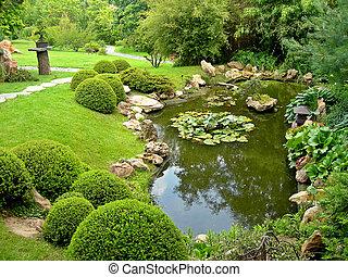 japanisches , teich, kleingarten