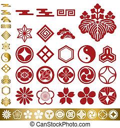 japanisches , traditionelle , elemente, satz