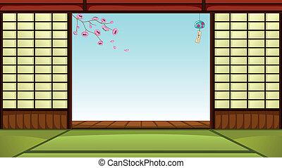 Haus asiatisch bl ten kirschen bl ten haus schablone asiatisch kirschen - Japanisches zimmer ...