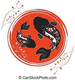 Japanise illustration with carp