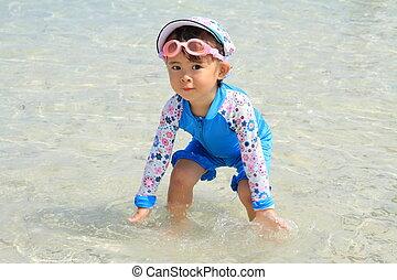 japanner, meisje, op het strand, (2, jaren, old)