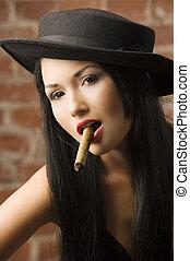 japanner, meisje, smoking, een, sigaar