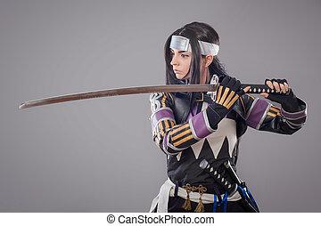 japanner, samurai, met, katana, zwaard