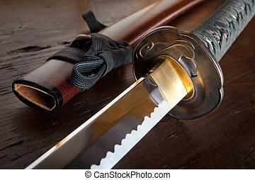 japanner, zwaard, en, schede