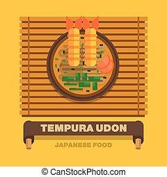 Japan's national dishes,Tempura Udon - Vector flat design...