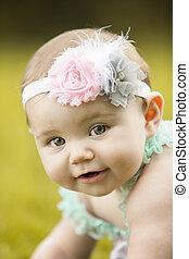japansk amerikan, liten knatte, flicka leende